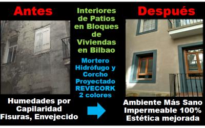 Comunidad Propietarios en Bilbao elimina humedades y mejora estética de patios con revestimiento de corcho